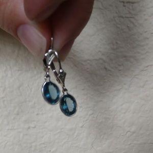Jewelry - Beautiful blue topaz leverback earrings sterling